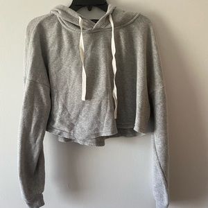 FOREVER 21 Grey Cropped & Soft Hoodie!